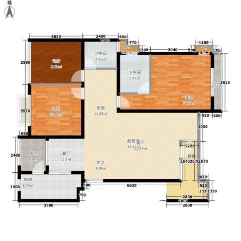 中天阳光美地3室0厅2卫1厨122.00㎡户型图