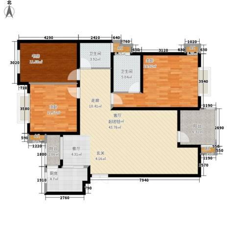 中天阳光美地3室0厅2卫1厨109.00㎡户型图