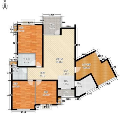 中天阳光美地3室0厅2卫1厨132.16㎡户型图