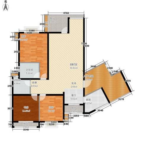 中天阳光美地3室0厅2卫1厨131.25㎡户型图