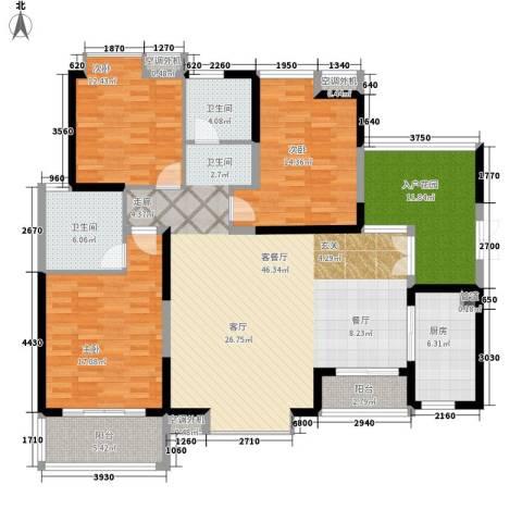 世纪城龙嘉苑3室1厅2卫1厨144.00㎡户型图