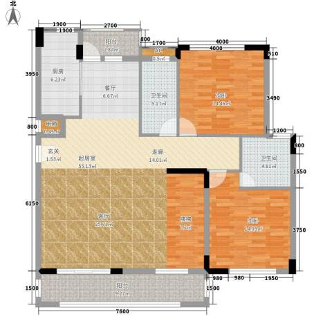 兴业海逸半岛花园2室0厅2卫1厨230.00㎡户型图