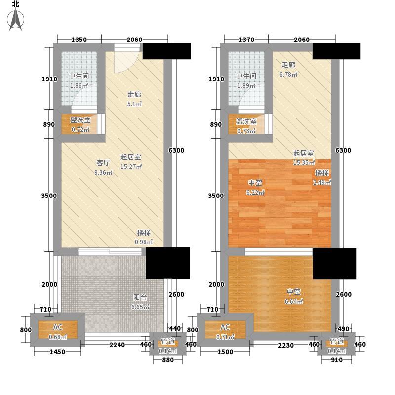 融汇温泉城童话里C区4栋跃层标准层户型1室1厅