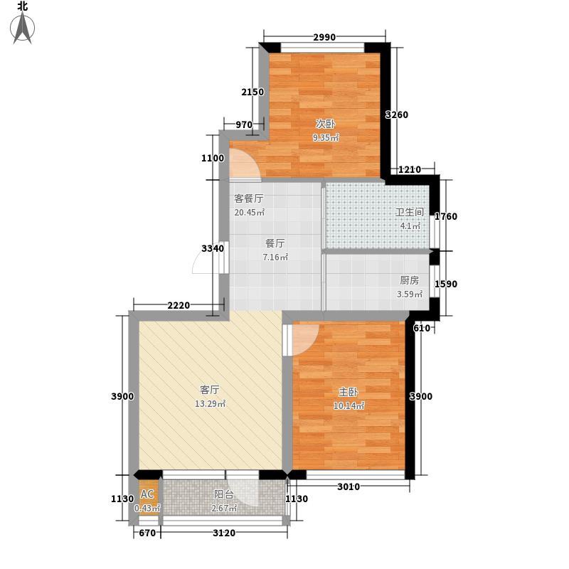 智祥明珠苑84.00㎡E户型2室2厅