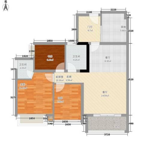 星誉花园3室0厅2卫1厨85.00㎡户型图
