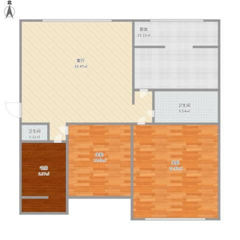 华宇阳光小区3室1厅2卫1厨131.00㎡户型图