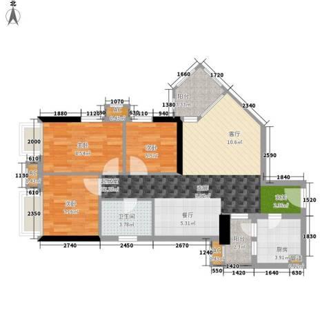 西门口广场3室0厅1卫1厨73.00㎡户型图