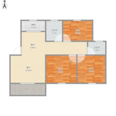 杨泰春城3室1厅2卫1厨78.00㎡户型图