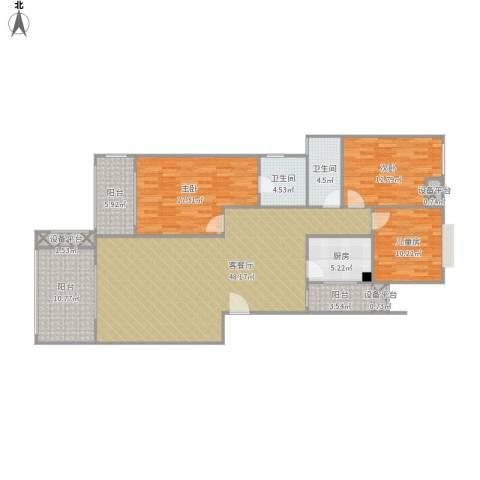 防城港市阳光海岸3室1厅2卫1厨170.00㎡户型图