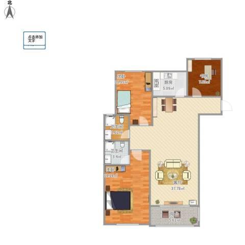 同科・汇丰国际3室1厅2卫1厨124.00㎡户型图