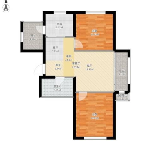 鼎力叶知林2室1厅1卫1厨97.00㎡户型图