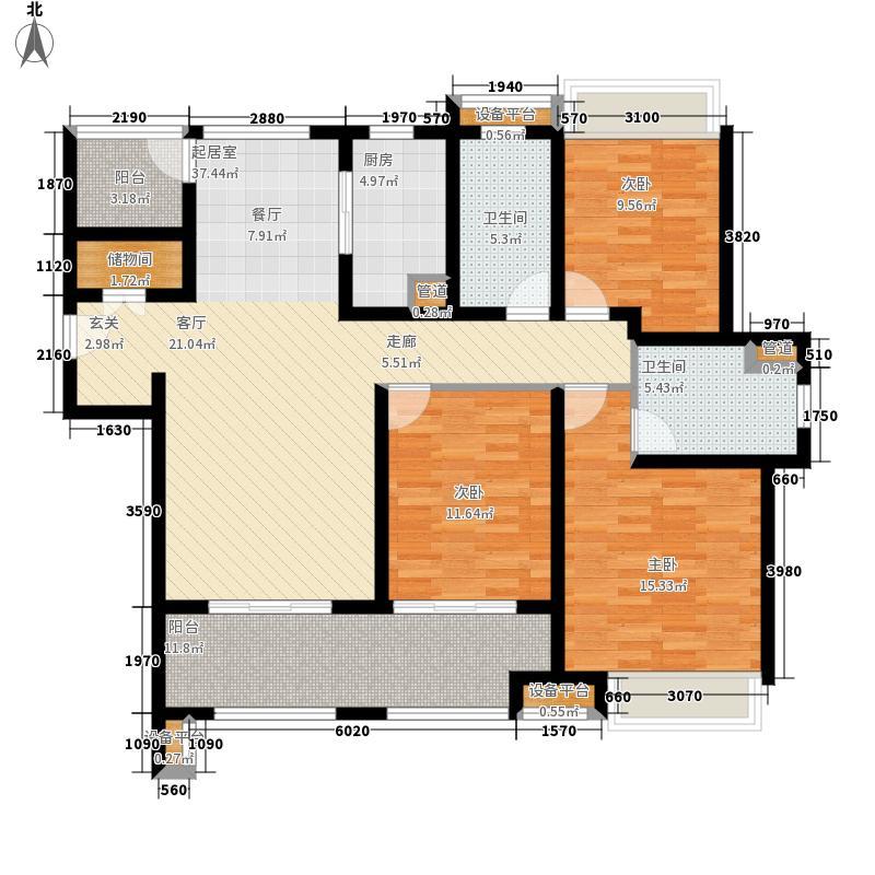 万科玲珑东区127.00㎡户型3室2厅