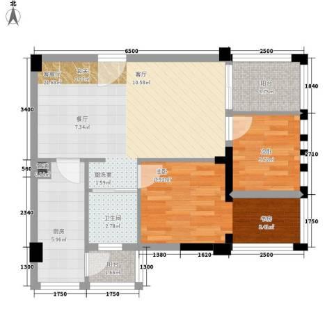 神仙树缤纷2室1厅1卫1厨64.00㎡户型图