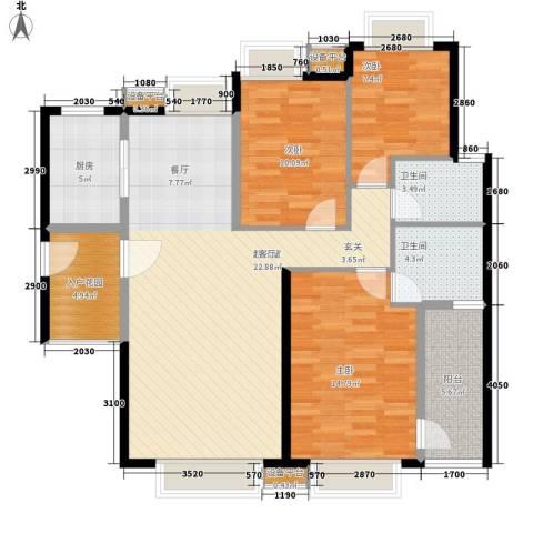 高山流水3室0厅2卫1厨106.00㎡户型图