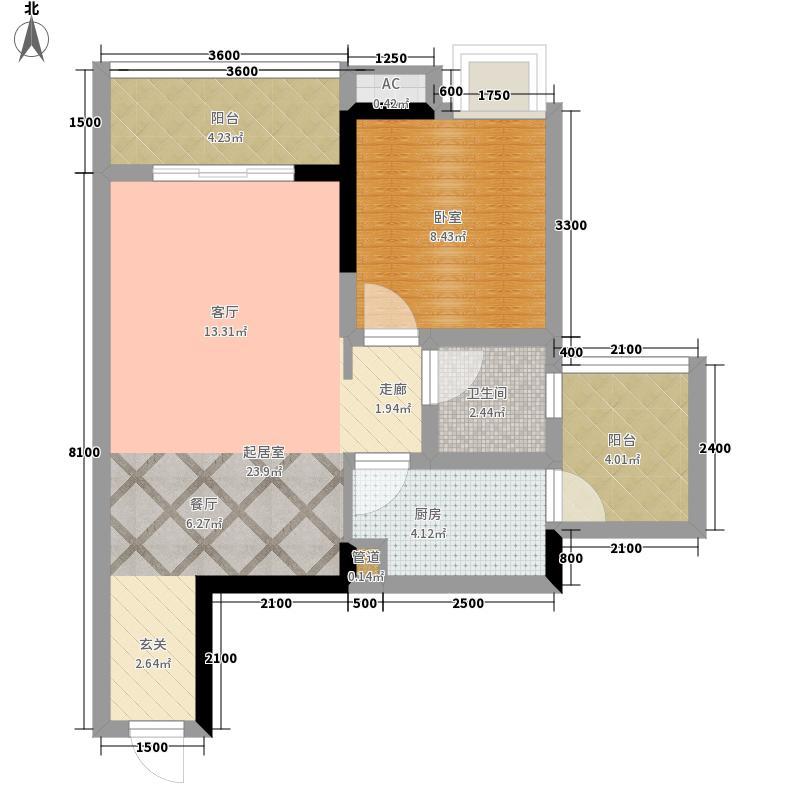 尚格博园1、2、3号楼标准层户型1室2厅