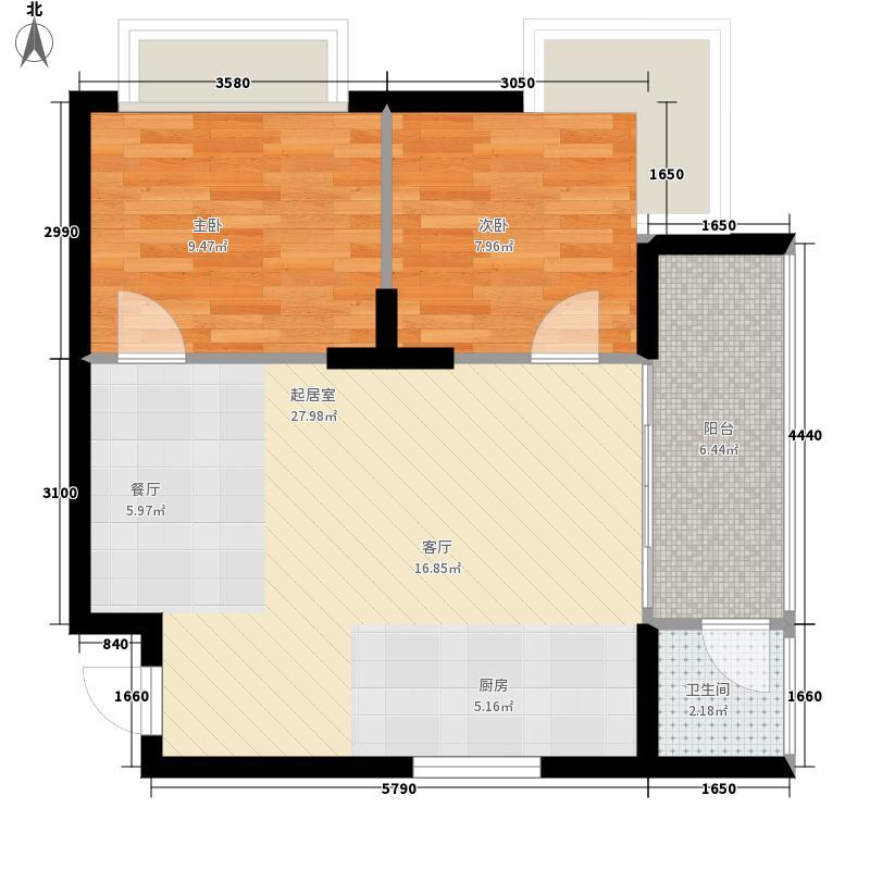 东方海岸假日60.00㎡3、5层G户型2室2厅