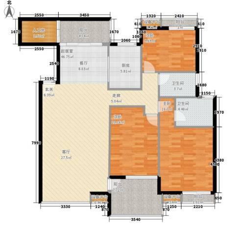 高山流水3室0厅2卫1厨134.00㎡户型图