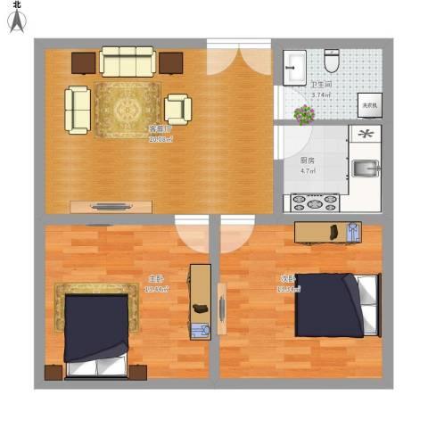 龙腾花园2室1厅1卫1厨79.00㎡户型图