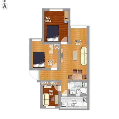 品新苑2室1厅1卫1厨92.00㎡户型图