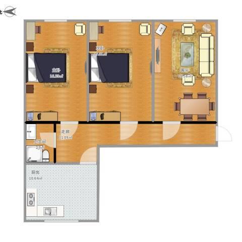 西便门外大街七号院2室1厅1卫1厨100.00㎡户型图