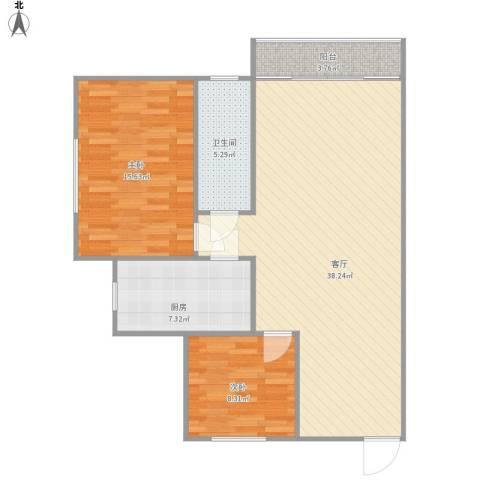 苹果园2室1厅1卫1厨105.00㎡户型图