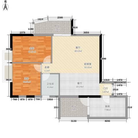 赛拉维2室0厅1卫1厨88.00㎡户型图