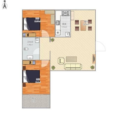 诚品幸福城2室1厅1卫1厨99.00㎡户型图