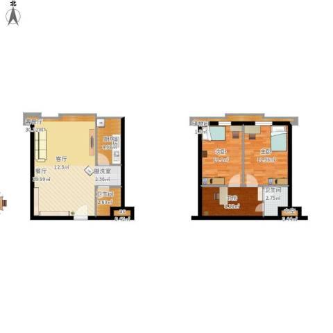 滨海浙商蓝庭国际3室1厅2卫1厨106.00㎡户型图