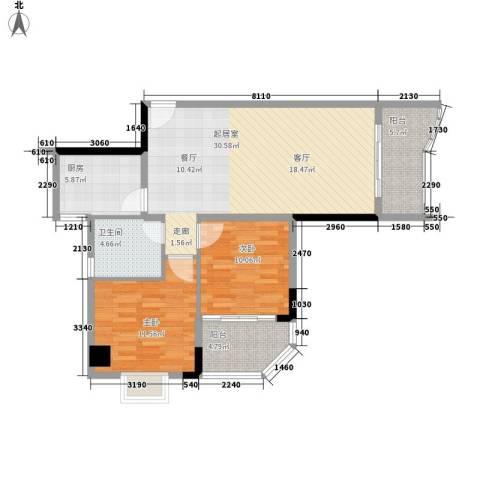 赛拉维2室0厅1卫1厨83.00㎡户型图
