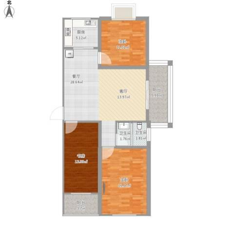 海纳・现代城二期3室1厅2卫1厨123.00㎡户型图