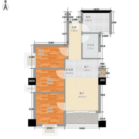 赛拉维3室0厅1卫1厨77.00㎡户型图