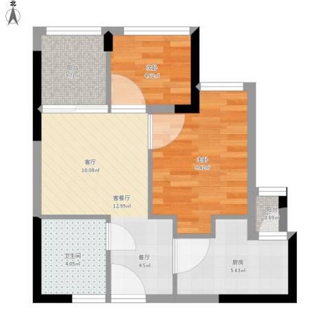 东原D8公馆2室1厅1卫1厨60.00㎡户型图