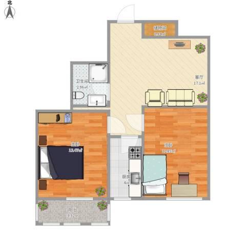 车道沟南里2室1厅1卫1厨72.00㎡户型图