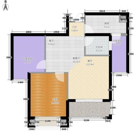星光苑1室1厅1卫1厨88.00㎡户型图