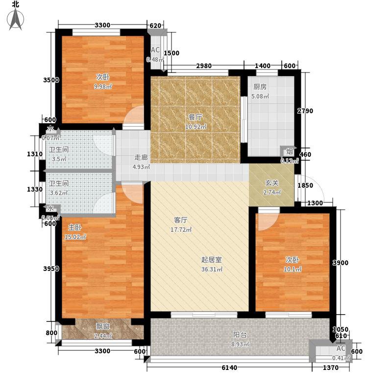 主语城130.00㎡户型3室2厅