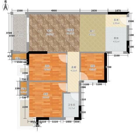 顺景蔷薇山庄4期3室0厅1卫0厨90.00㎡户型图