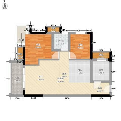 顺景蔷薇山庄4期2室0厅1卫1厨73.00㎡户型图