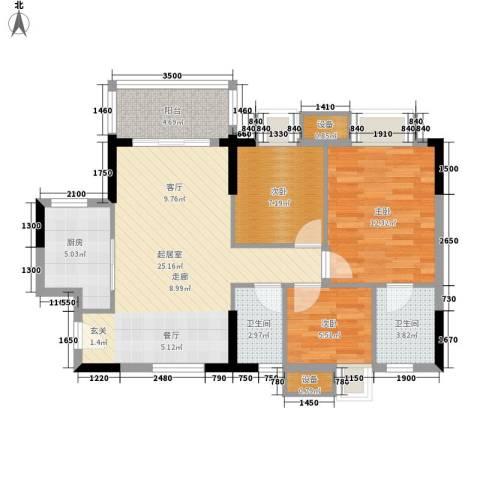 顺景蔷薇山庄4期3室0厅2卫1厨90.00㎡户型图