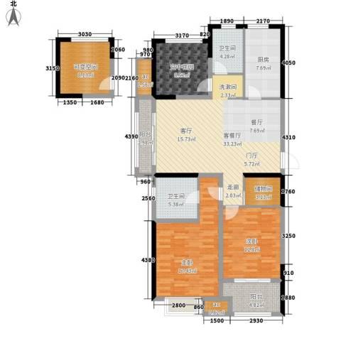 紫金城2室1厅2卫1厨128.00㎡户型图