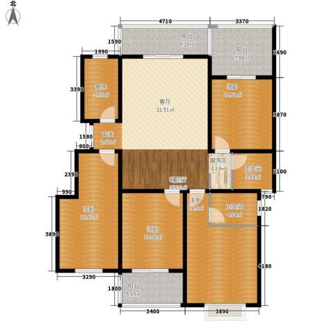 禹洲翡翠湖郡4室1厅2卫1厨141.00㎡户型图