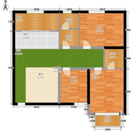 翰林雅居3室1厅3卫1厨117.00㎡户型图