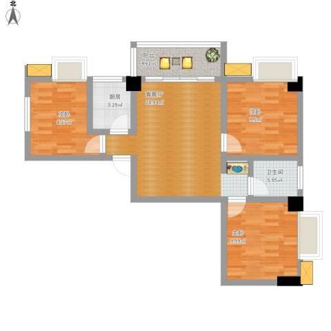 LAKE街区知音国际茶城3室1厅1卫1厨89.00㎡户型图