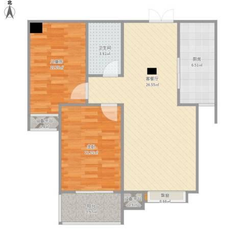 西部枫景傲城2室1厅1卫1厨90.00㎡户型图