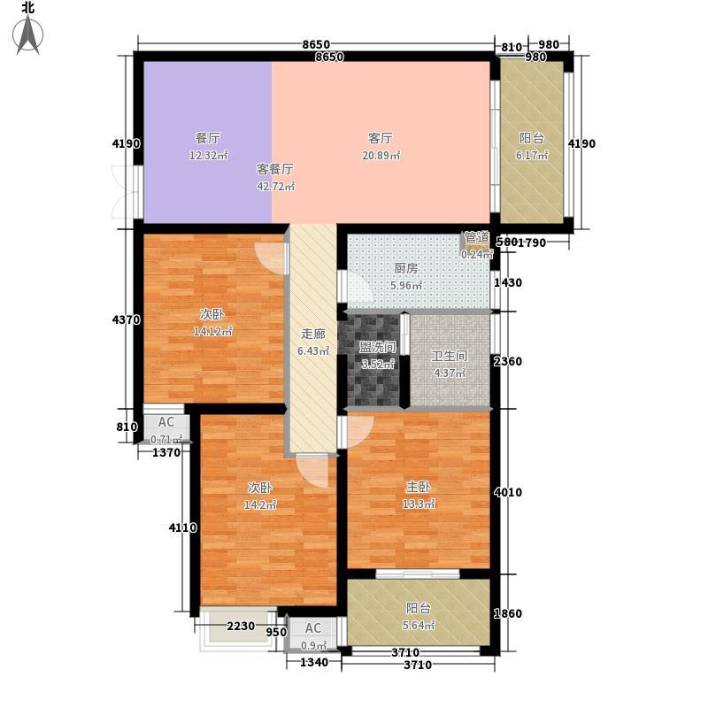 郑州升龙天汇广场121.90㎡F3户型3室2厅