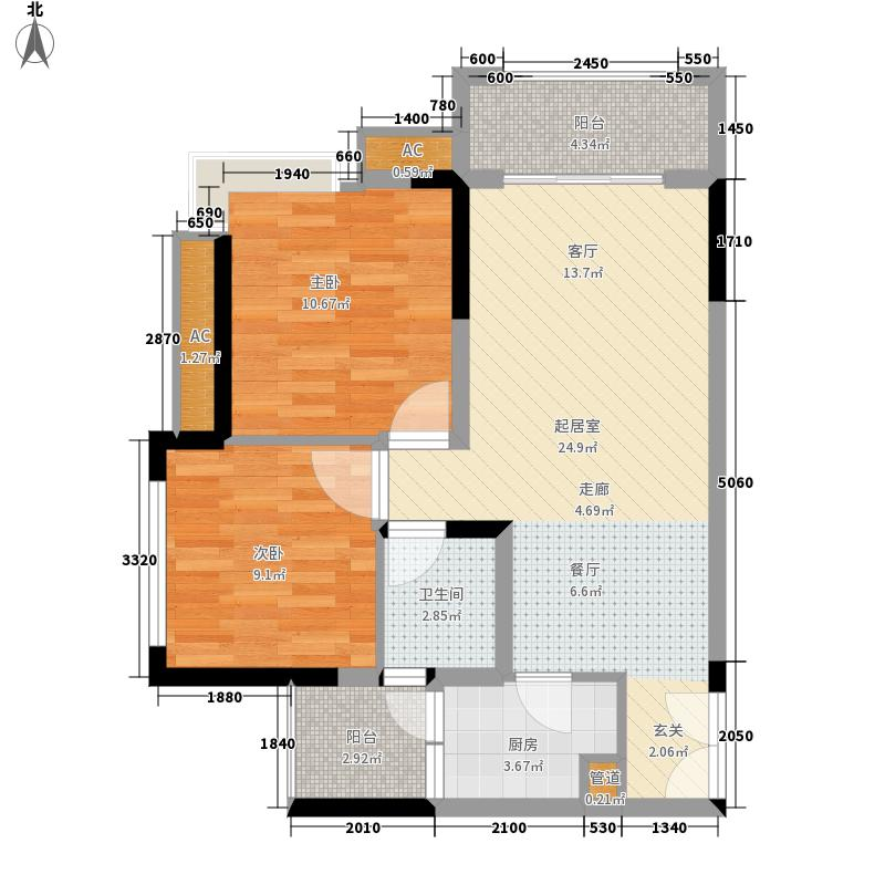 斌鑫中央国际公园53.99㎡二期24号楼标准层C户型