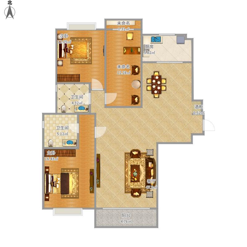 蔚蓝群岛142.25平三室两厅两卫
