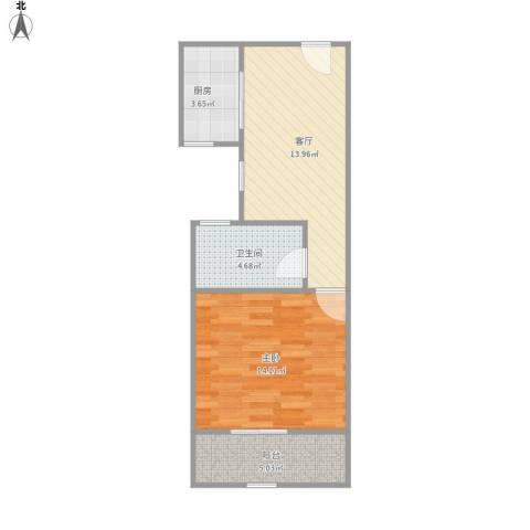 北海新苑1室1厅1卫1厨56.00㎡户型图