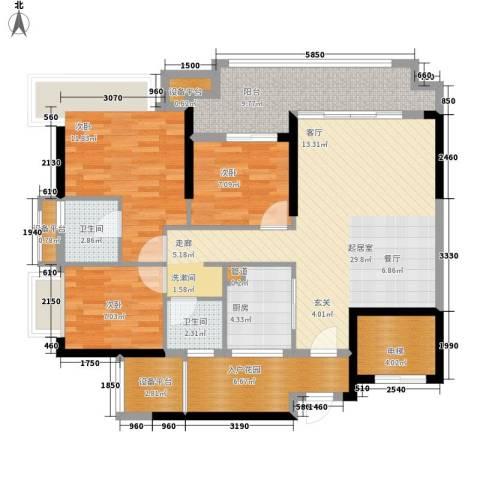 锦绣国际花城3室0厅2卫1厨105.00㎡户型图