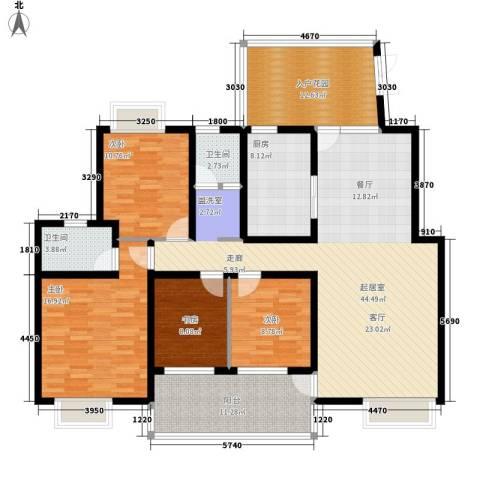 湘麓国际4室0厅2卫1厨157.00㎡户型图