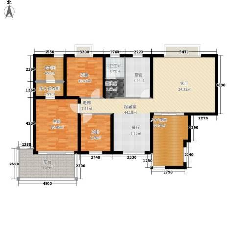 湘麓国际3室0厅2卫1厨128.00㎡户型图